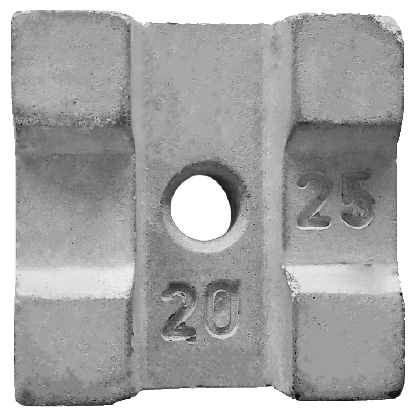 Concrete Cover Blocks 20,25mm Square with hole  (2in1)